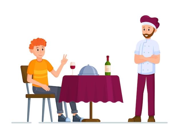 ピセオラ改訂のベクトルイラスト。忙しい一日を過ごした後は、レストランで夕食をとりましょう。ピートワイン。レストランでの夕食。シェフを顧客に呼びます。注文。