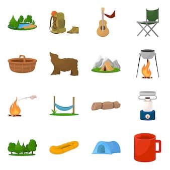 Векторная иллюстрация логотипа пикника и приключений. набор пикник и символ акций природы для веб-сайтов.