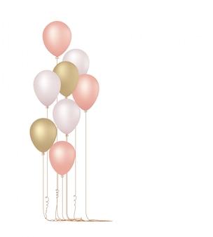 分離されたピンクの風船のベクトルイラスト