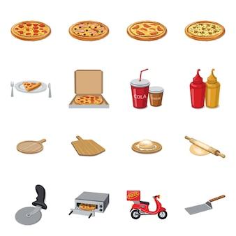 ピザと食べ物のアイコンのベクトルイラスト。 webのピザとイタリアのストックシンボルのコレクション。