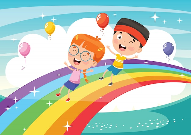 Векторная иллюстрация радуга детей Premium векторы