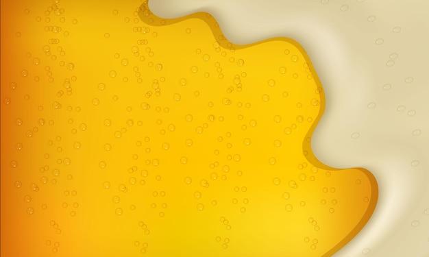 泡と泡とリアルな明るいまたは暗いビールのベクトルイラスト。