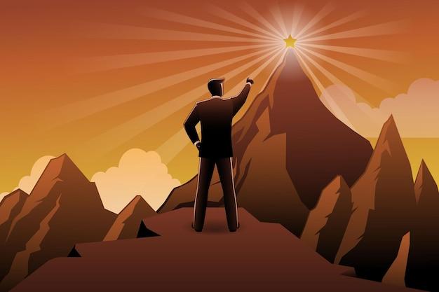 Векторная иллюстрация заднего бизнесмена, стоящего на скале, указывая на звезды на вершине горы Premium векторы