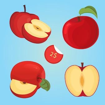 Векторная иллюстрация спелых фруктов ломтиками яблока