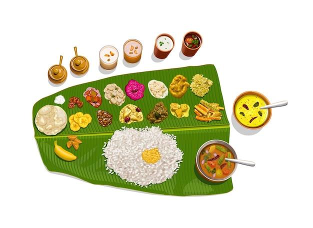 サディヤ、伝統的な方法で配置された南インドの菜食主義の食事のベクトルイラスト。