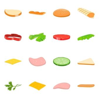 サンドイッチと食べ物のアイコンのベクトルイラスト。サンドイッチとハンバーガーセットのセット