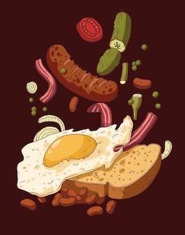 카페 기호 또는 메뉴 디자인을 위한 소시지와 계란 샌드위치의 벡터 그림