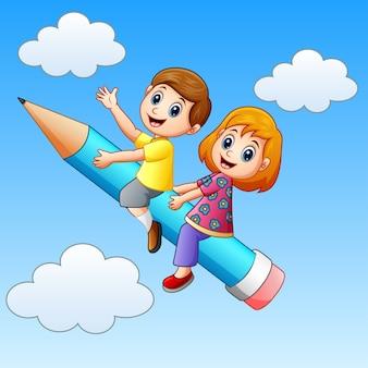 Векторная иллюстрация школьников, катающихся на карандаше
