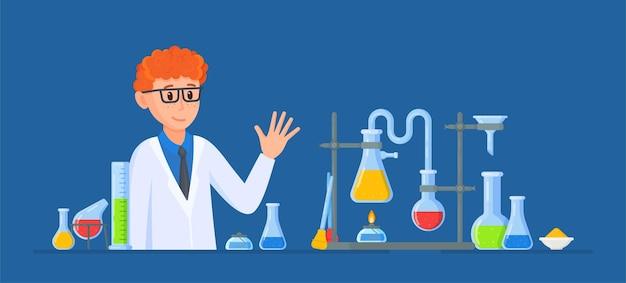 과학자 실험의 벡터 일러스트 레이 션 실험실에서 인간 과학자