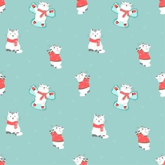 かわいい漫画の猫とのシームレスなパターンのベクトルイラスト。冬、防寒着、セーター、手袋、スカーフ。雪で新年とクリスマスの装飾。