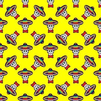 다양한 여러 가지 빛깔의 전통 멕시코 calaveras 또는 s...와 함께 완벽 한 패턴의 벡터 일러스트 레이 션...