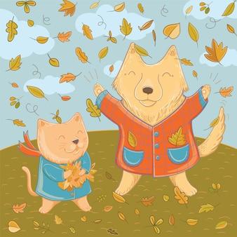 Векторная иллюстрация сентября с забавной собакой и кошкой. осенние забавы для детей. шаблон для поздравительной открытки.