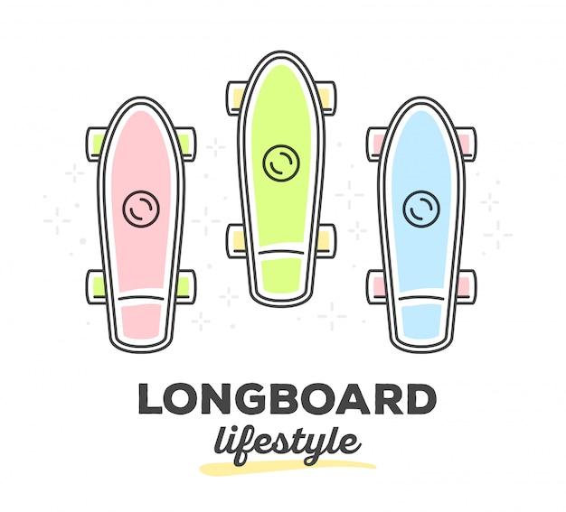 白い背景上のテキストとカラフルなロングボードのセットのベクトルイラスト。
