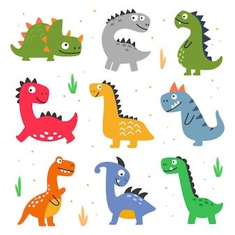 白い孤立した背景にさまざまな種類の恐竜のセットのベクトル図