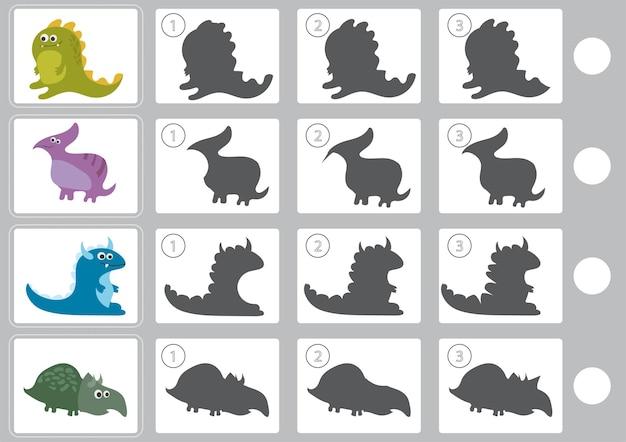 Векторная иллюстрация теневой игры с мультяшным динозавром для детей