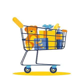 Векторная иллюстрация тележки для покупок