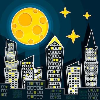 Векторная иллюстрация силуэт ночного городского пейзажа на фоне темно-синего неба с большой луной. арт-дизайн для интернета, сайта, рекламы, баннера, плаката, флаера, брошюры, доски, открытки, бумажной печати.