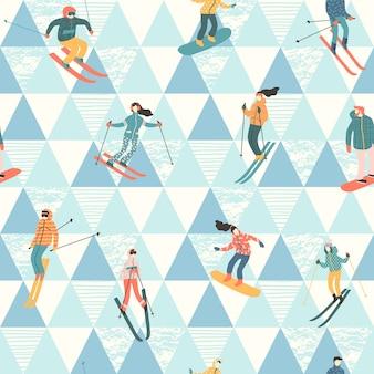 Векторная иллюстрация лыжников и сноубордистов.