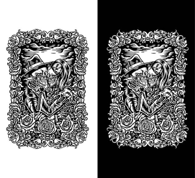 頭蓋骨のカップルのベクトル図、暗いと明るいに分離