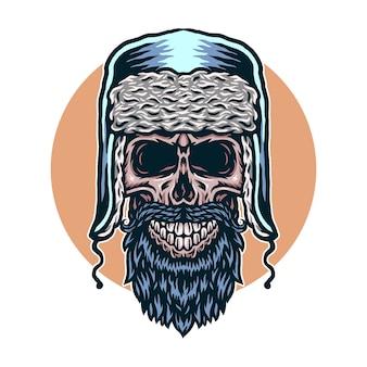 Векторная иллюстрация черепа зимы