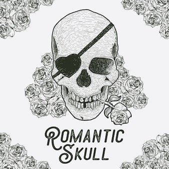 Vector illustration of skull with rose flower in the mouth