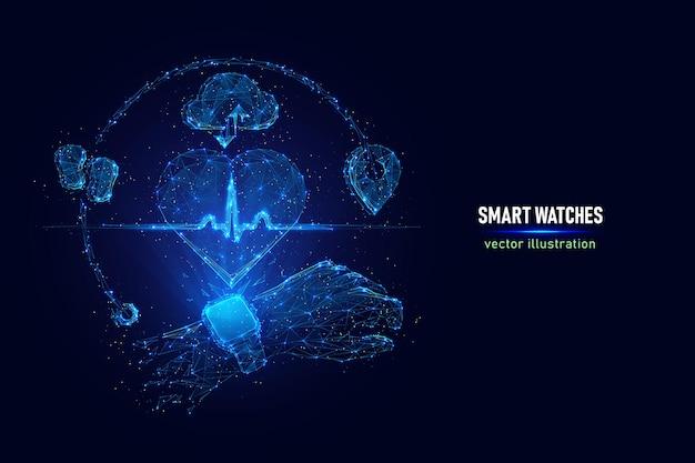スマートウォッチのベクトルイラスト。接続されたドットで作られた心拍数を示すスマートウォッチのデジタルワイヤーフレーム。青の背景に心拍数モニタリングホログラムの低ポリイラスト。