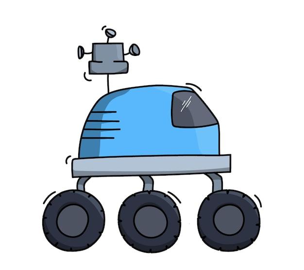 宇宙船ローバーのベクトルイラスト。惑星探検家のコンセプト