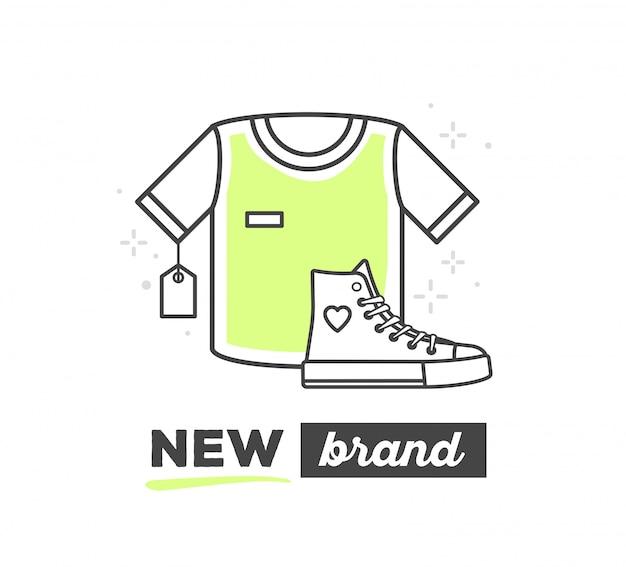 Векторная иллюстрация спортивных вещей с текстом на белом фоне. новый спортивный бренд