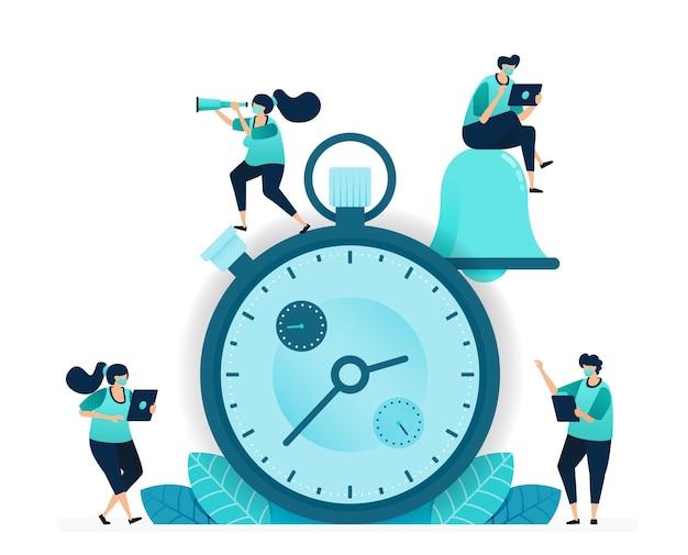 Векторная иллюстрация секундомера для соревнований и рабочего интервала. приложения для оповещения о звонках для планирования и планирования. работающие женщины и мужчины. разработан для веб-сайта, сети, целевой страницы, приложений, плакатов