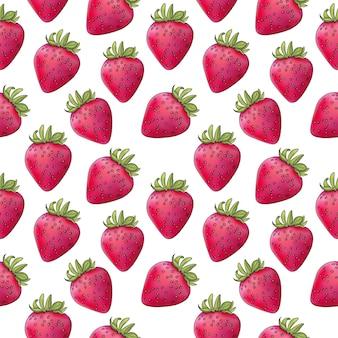 사실주의 스타일 붉은 색 원활한 패턴에서 딸기 베리의 벡터 일러스트 레이 션