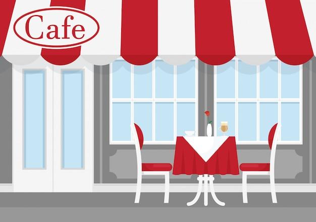 テーブルと椅子、コーヒーと赤と白のストライプの日よけとストリートカフェのベクトルイラスト。フラットな漫画のスタイルのレストランの外観のカフェ。