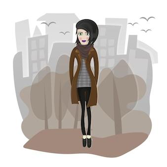 Векторная иллюстрация стильной девушки, прогулки по городу