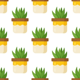 흰색 바탕에 즙이 많은 패턴의 벡터 일러스트 레이 션. 밝은 노란색 광택 꽃병에 담긴 관엽 식물의 인쇄. 장식으로 아름다운 방 꽃병.