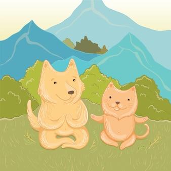 산에서 여름 휴가의 벡터 일러스트 레이 션. 고양이와 개는 산에서 명상을합니다. 인사말 카드 서식 파일입니다.