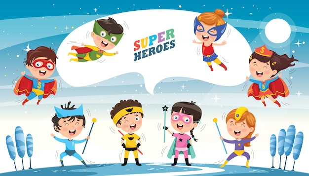 スーパーヒーローのベクトルイラスト