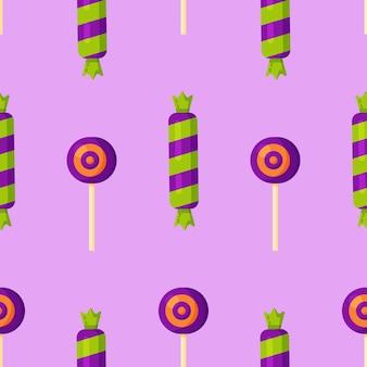 보라색 바탕에 달콤한 사탕 패턴의 벡터 일러스트 레이 션. 귀여운 파스텔 사탕 달콤한 디저트는 다양한 종류의 매끄러운 패턴입니다.