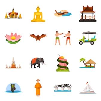 タイのベクトルイラストと旅行のシンボル。タイのコレクションと文化セット