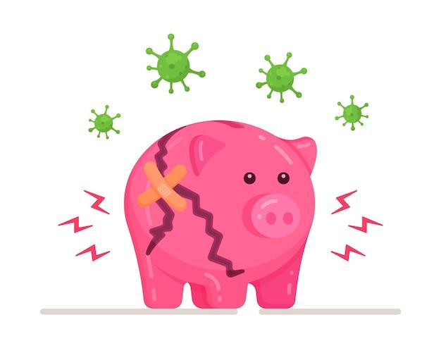 비즈니스 위기의 벡터 일러스트 레이 션. 돼지 저금통 깨진 개념입니다. 사업의 위기, 재정적 문제.