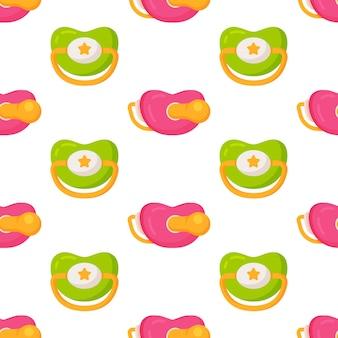 젖꼭지 패턴의 벡터 일러스트 레이 션. 아기 젖꼭지 원활한 배경 패턴입니다. 아기 장난감 젖꼭지 기호 기호 패턴입니다. 완벽 한 패턴입니다.