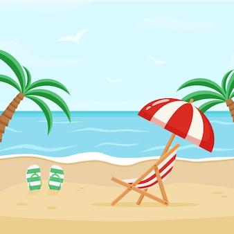 갑판 의자와 우산이 있는 바다 해안의 벡터 그림. 해변에서 화창한 날입니다.