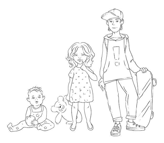 さまざまな年齢の3人の子供のベクトル図
