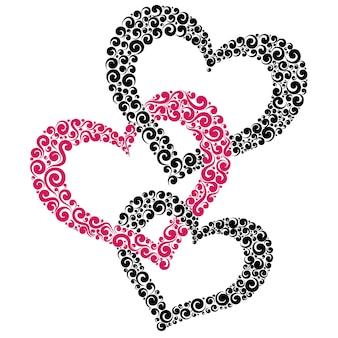 3つの絡み合った心、愛のシンボルのベクトル図