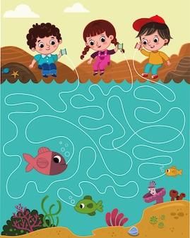 낚시하는 세 아이의 벡터 그림선을 따라 누가 가장 큰 물고기를 잡았는지 확인하세요