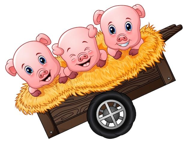 カートに入れる3つの小さな豚の漫画のベクトル図