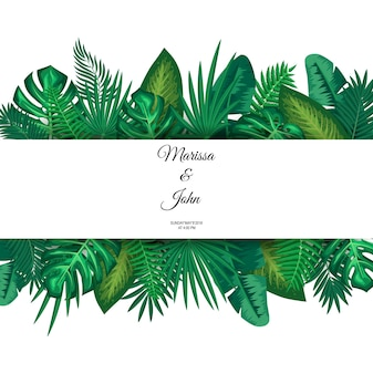 Vector illustration of trendy Summer Tropical Leaves