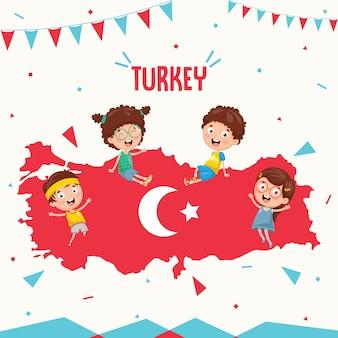 Векторная иллюстрация турецкого флага и детей