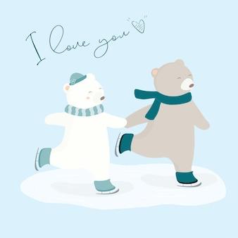 Векторная иллюстрация двух медведей на коньках.