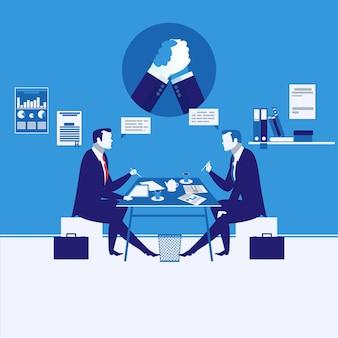 Векторная иллюстрация двух бизнесменов, имеющих встречу с символом армрестлинга