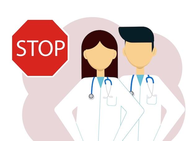 白衣を着て、大きな一時停止の標識の横に聴診器を持つ2人の医師の男性と女性のベクトル図