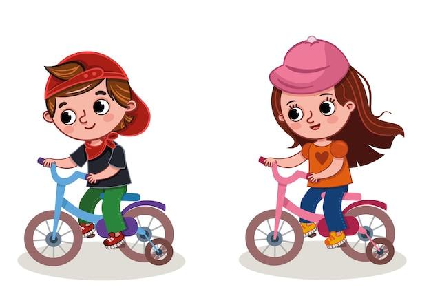 자전거를 타는 두 아이의 벡터 일러스트 레이 션